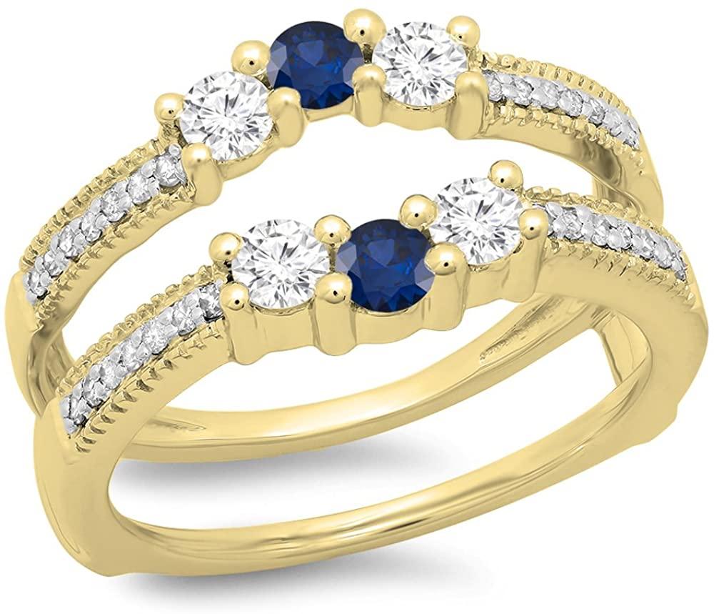 14K Gold Round Cut Blue Sapphire & White Diamond Ladies Wedding Band 3 Stone Enhancer Guard Double Ring