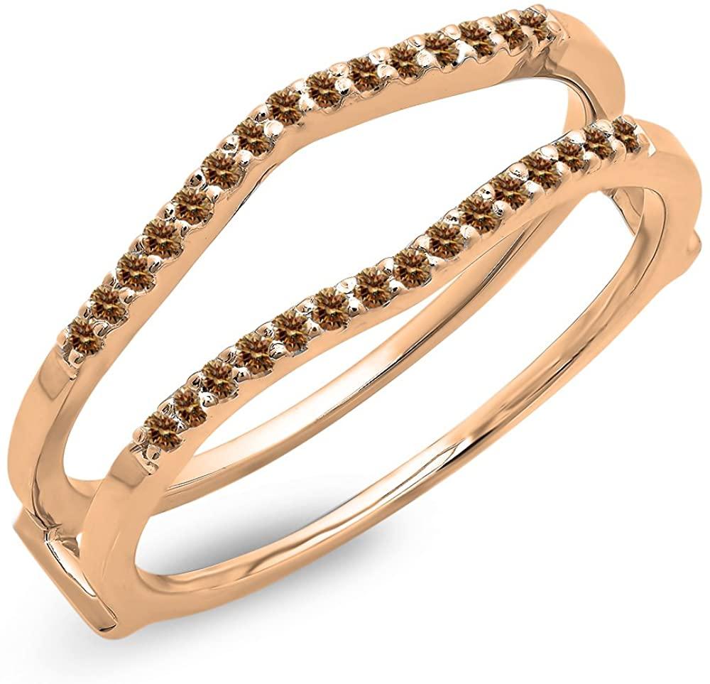 Dazzlingrock Collection 0.18 Carat (ctw) 14K Gold Round Champagne Diamond Ladies Anniversary Wedding Enhancer Guard Double Ring