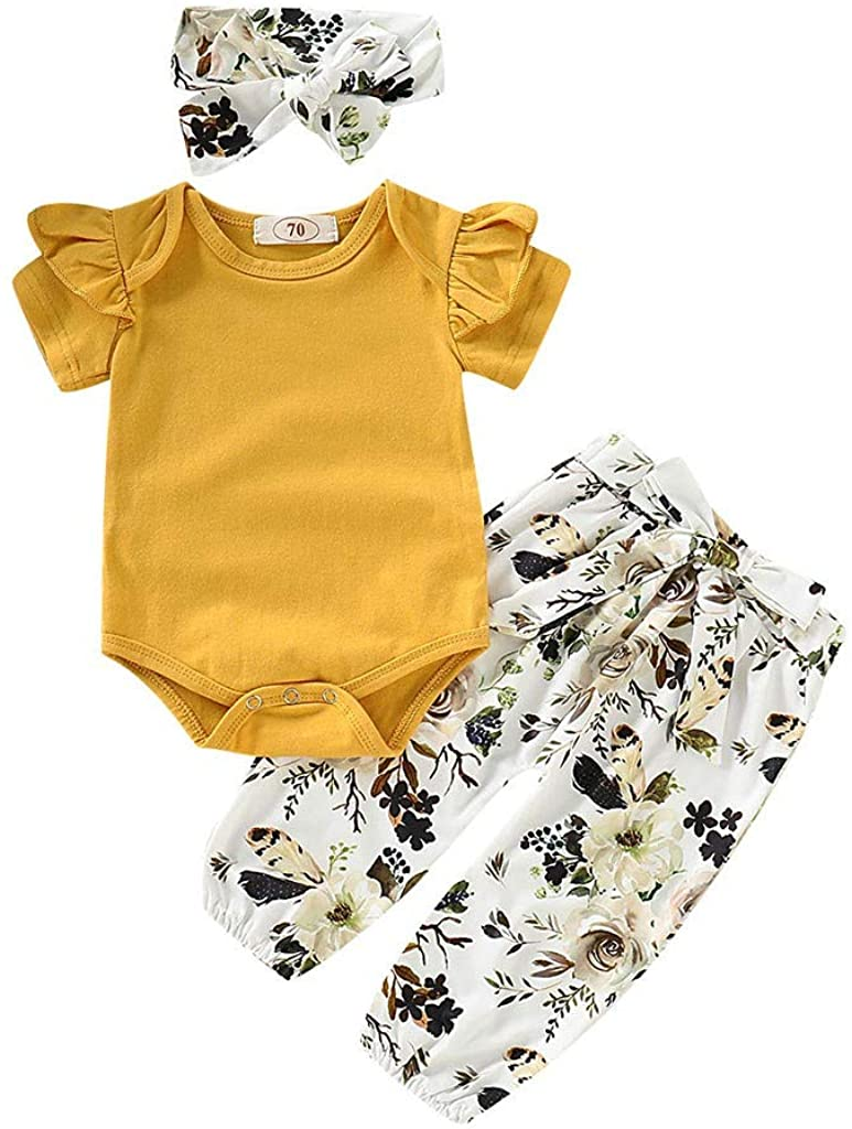 Reasoncool Infant Newborn Baby Girl Boy Summer Outfits Sets Long Sleeve Flower Romper Tops Pant Headband Clothes