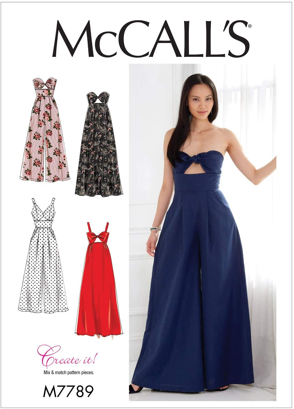McCall's Patterns Misses' Dresses And Jumpsuits Sewing Pattern, E5 (14-16-18-20-22), Multicolor