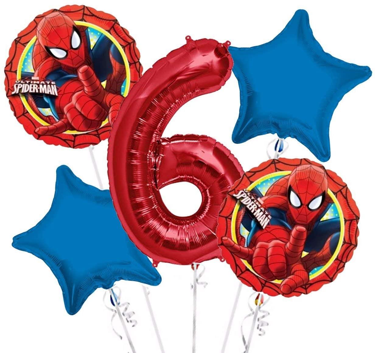 Spiderman Balloon Bouquet 6th Birthday 5 pcs - Party Supplies