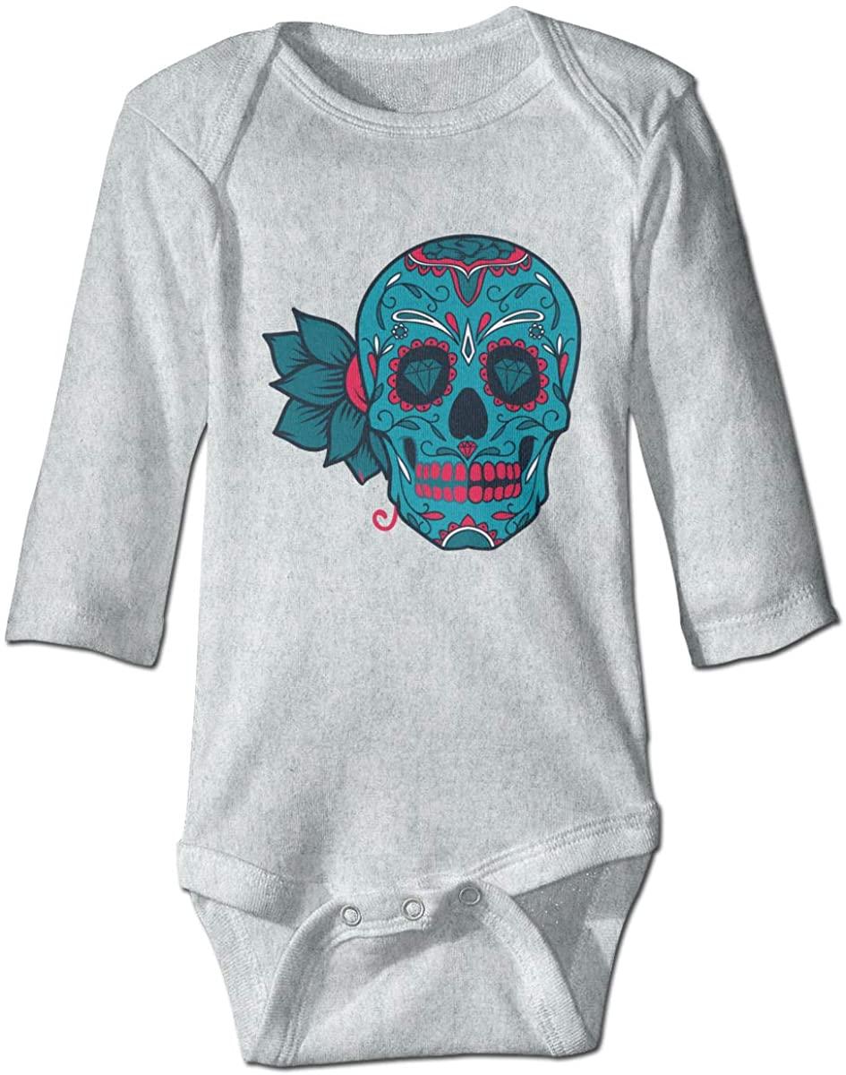 Sugar Skull Bone Flowers Unisex Baby Bodysuit Infant Cotton Outfits Long Sleeve Jumpsuit