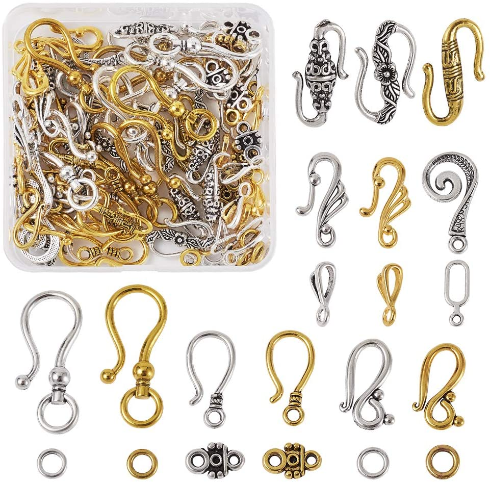 60sets 8 Styles Tibetan S Hook Ring Toggle Clasps End Clasps Connectors Antique Silver & Antique Golden for Bracelet Necklace Jewelry Making