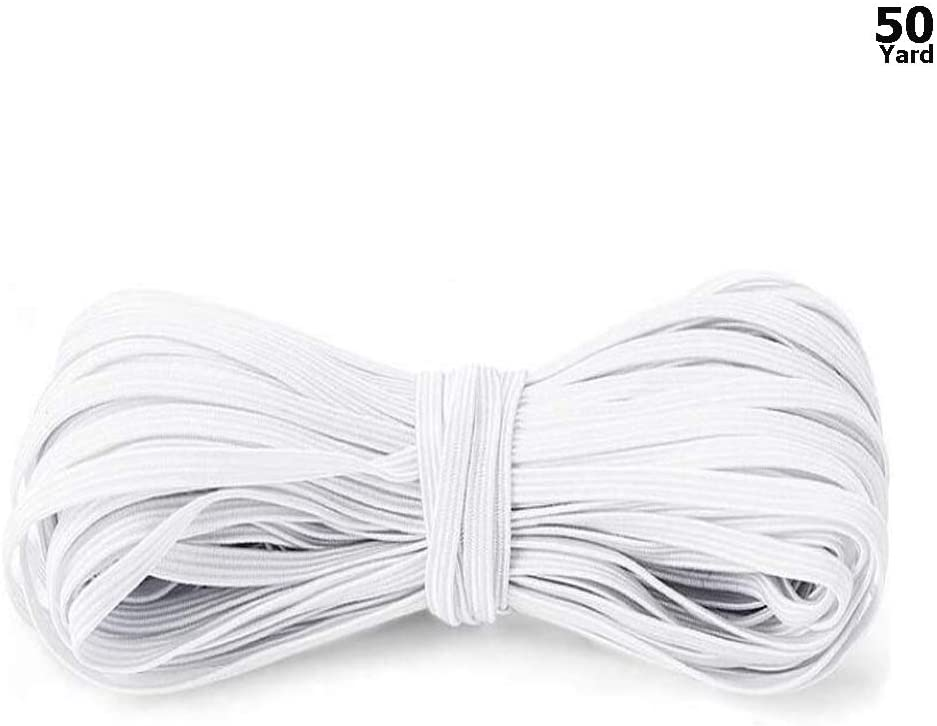 50 Yard Elastic Bands Cord for Sewing Flat Braided Stretch Strap Elastic Rope,1/4 inch Width(6mm)