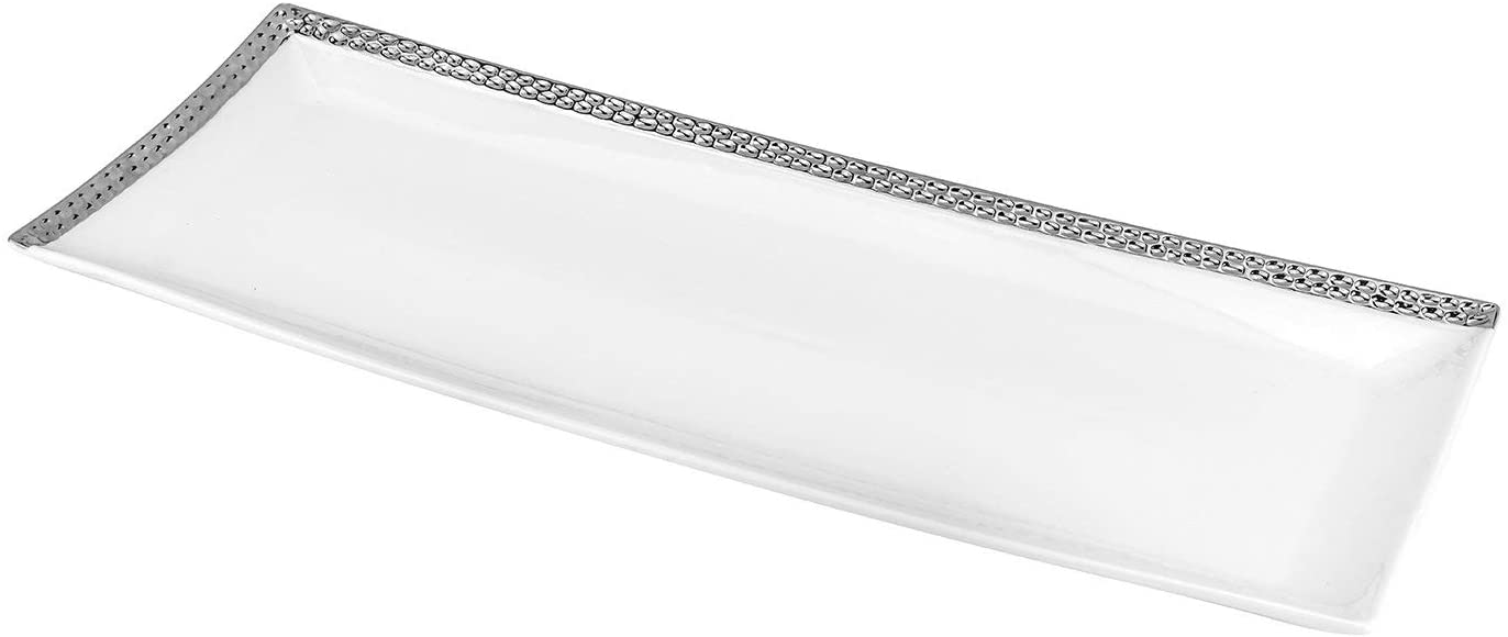 Royalty Porcelain White and Silver Glass Serving Platter, Tray with Beads Ornament