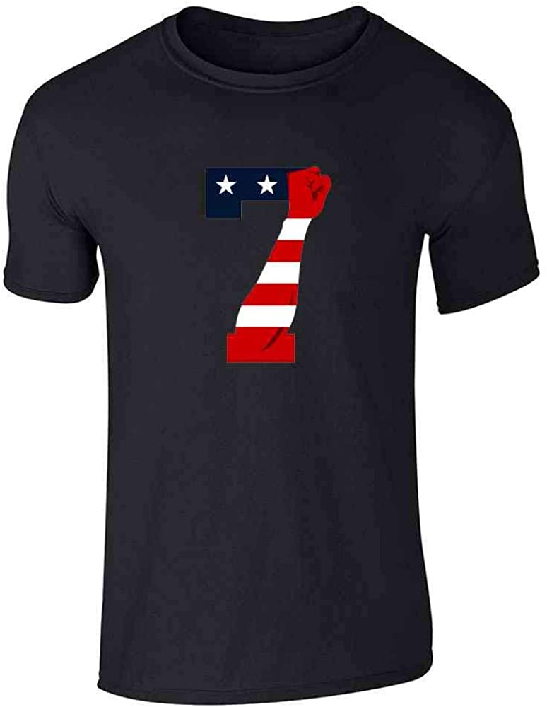 Pop Threads Power 7 Logo Patriotic American Flag Justice Fist Graphic Tee T-Shirt for Men