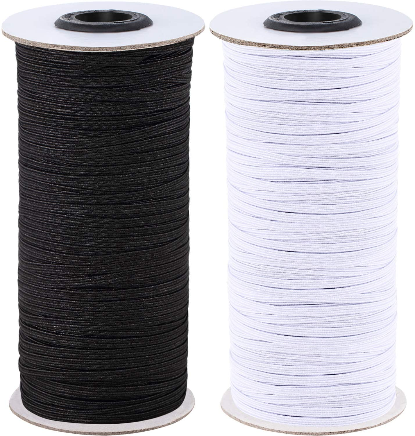 2 Rolls 1/8 Inch Wide 100 Yard Long Elastic Bands Heavy Stretch Strap Cord Elasticity Knit Flat Elastic Band for Sewing Cuffs, Pockets and DIY Crafting, Black and White