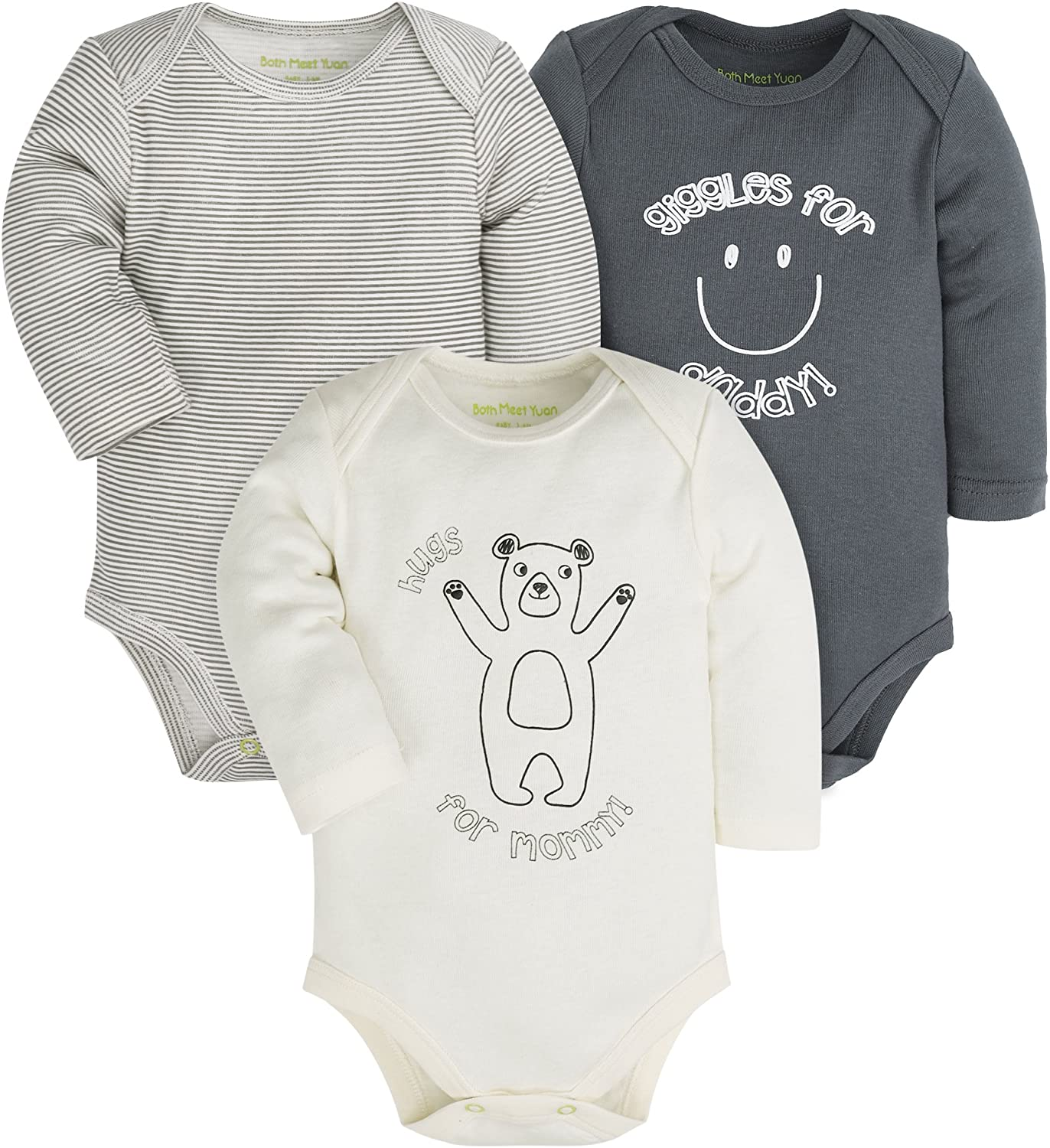 Baby 3-Pack Cotton Boys and Girls Long and Short Sleeve Bodysuits,Gray/White/Green (Bear, 9-12Months)