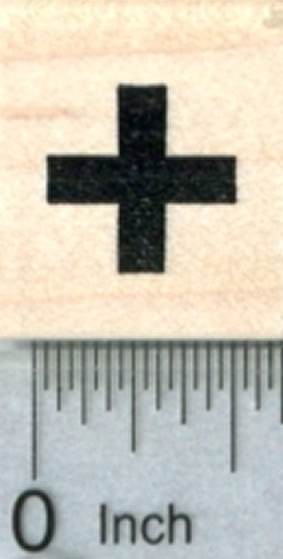 Tiny Cross Rubber Stamp, Medical Symbol, 1/2 inch, Calendar Series