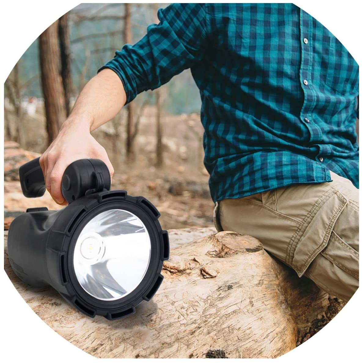 ALWAYS ME Portable Spotlight Searchlight 3W Handheld Rechargeable Search Light Flashlight Waterproof for Outdoor Camping Lighting