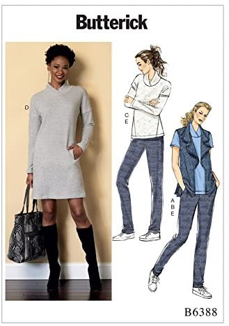 BUTTERICK Ladies Easy Sewing Pattern 6388 Tops, Dress, Waistcoat & Pleated Pants