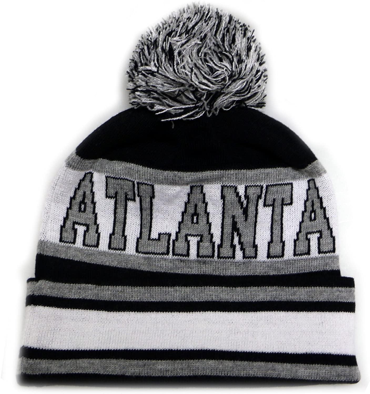 City Hunter Sk1130 Atlanta Stripes Pom Pom Beanie Hats - Black/grey