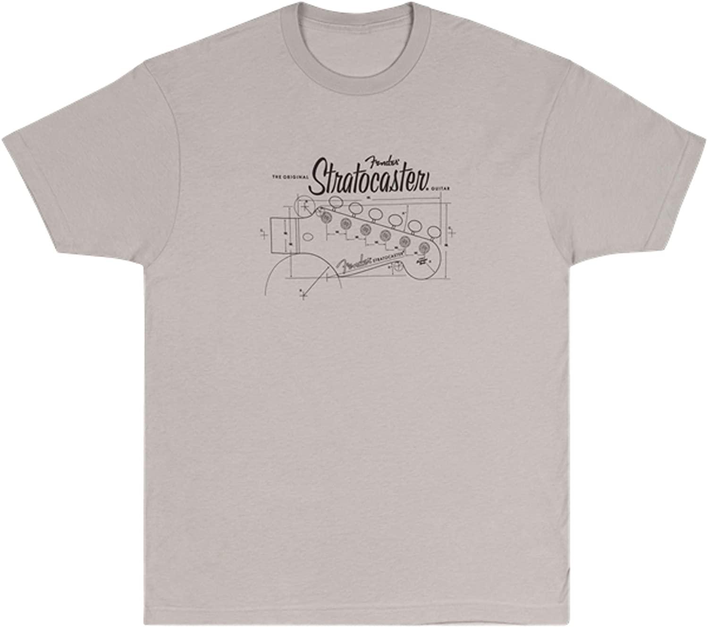 Fender Strat Blue Print T-Shirt, Silver M