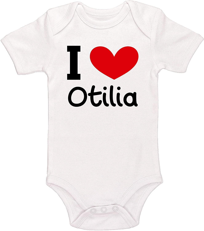 Kinacle I Love Otilia Personalized Baby Bodysuit