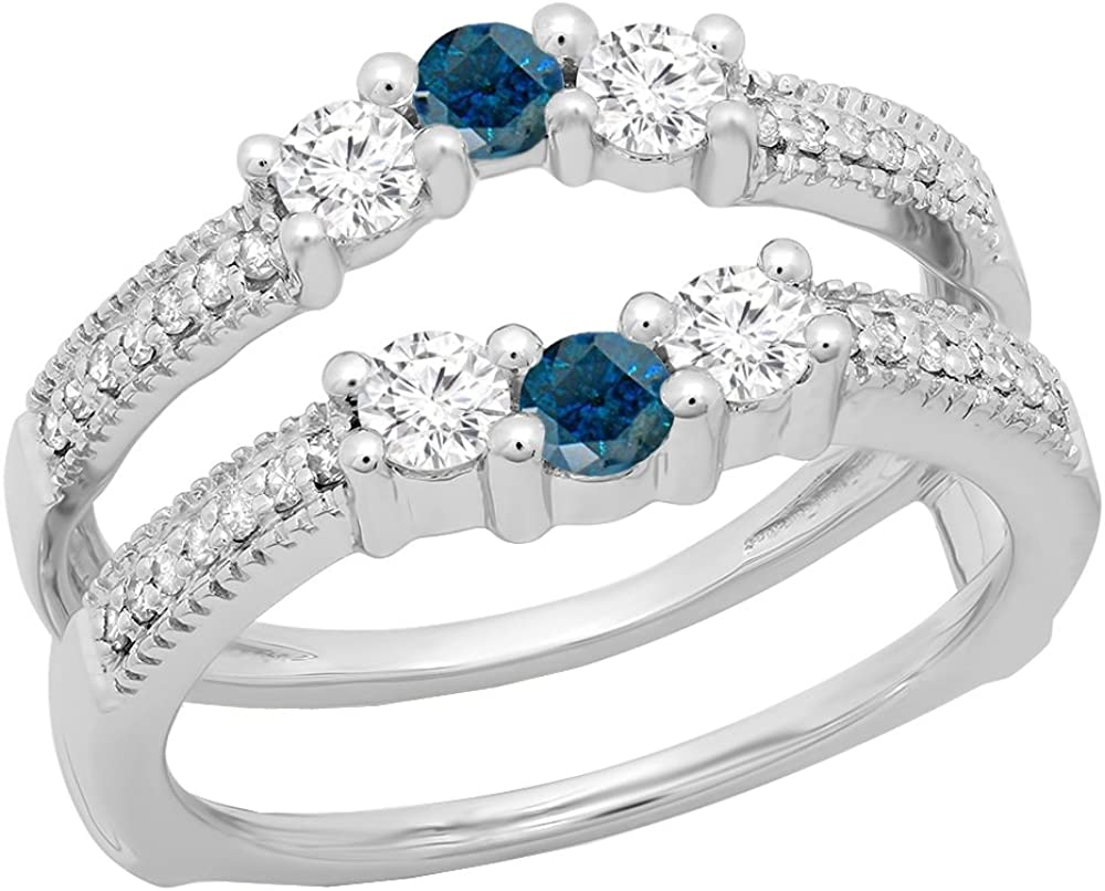 0.80 Carat (ctw) 14K Gold Round Blue & White Diamond Wedding Band 3 Stone Enhancer Guard Ring 3/4 CT