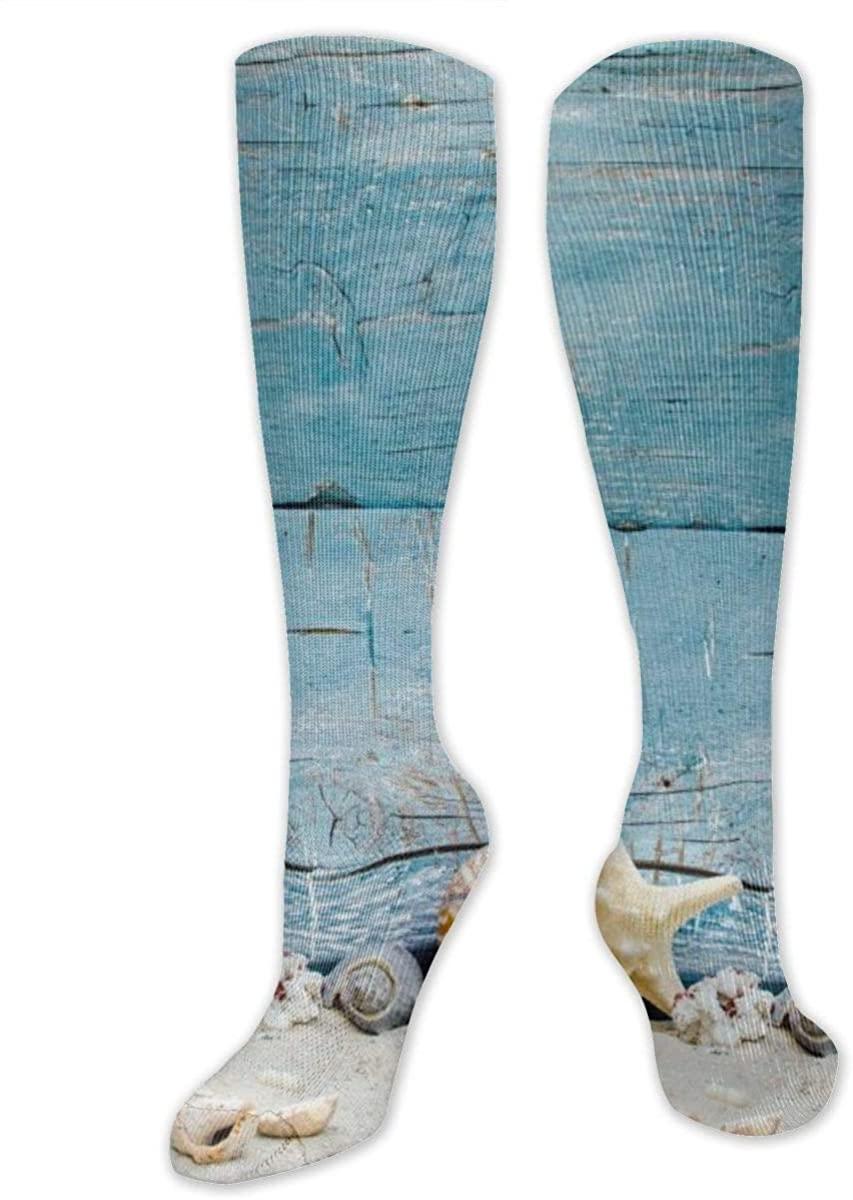 Men Women Knee High Socks Nautical Beach Conch Seashell Shells Hose Stockings