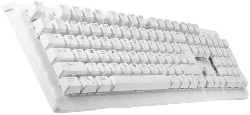 AiKuJia Keyboard 104Key Blue Switch 7Colors RGB LED Backlight Waterproof USB Mechanical Gaming Keyboards for Gaming and Typing (Color : White, Size : One Size)