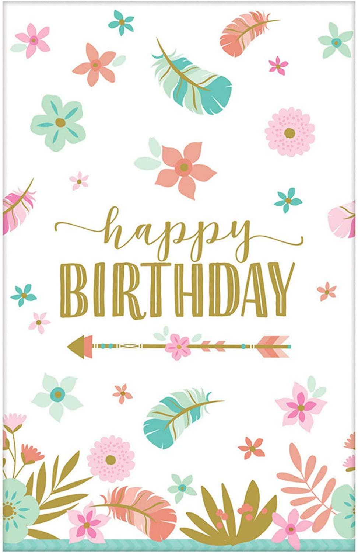 Boho Happy Birthday Paper Table Cover-1pc