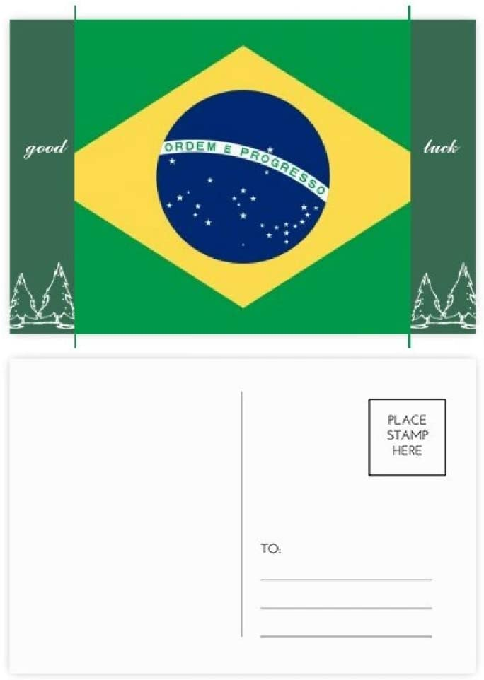 Brazil National Flag South America Country Good Luck Postcard Set Card Mailing Side 20pcs