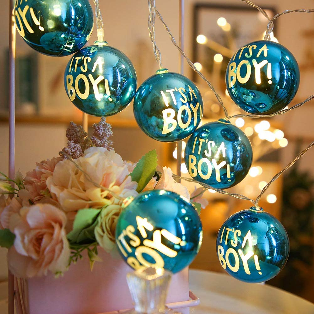 Global Ball String Lights 9.8FT 10 LED Battery Operated Christmas String Lights for Boy's Birthday Party Wedding Indoor Decoration Gilded Ball Fairy Lights (Warm White)