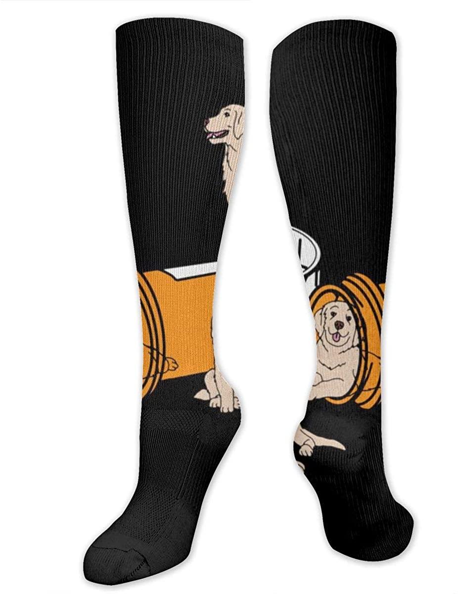Men Women Knee High Socks Cartoon Golden Retriever Dog Training Hose Stockings