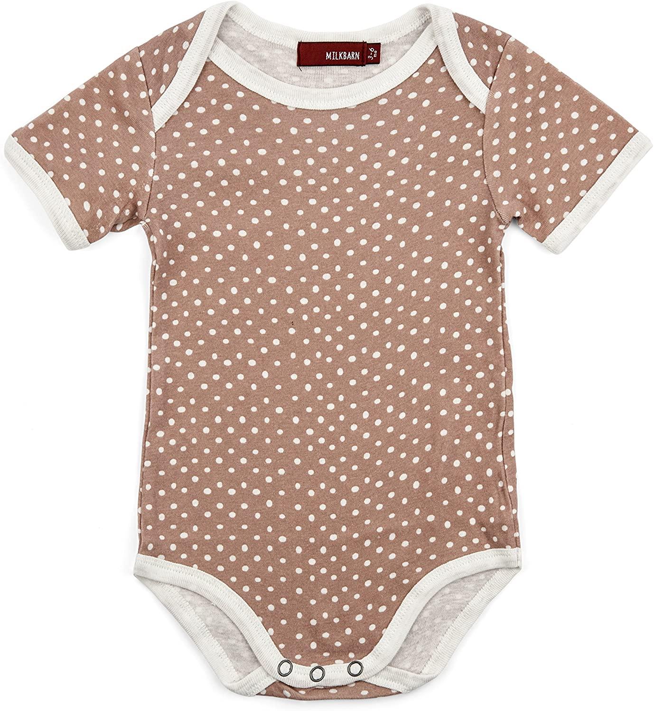 Milkbarn Short Sleeve Onesie (Rose Dot, 6-12 Months)