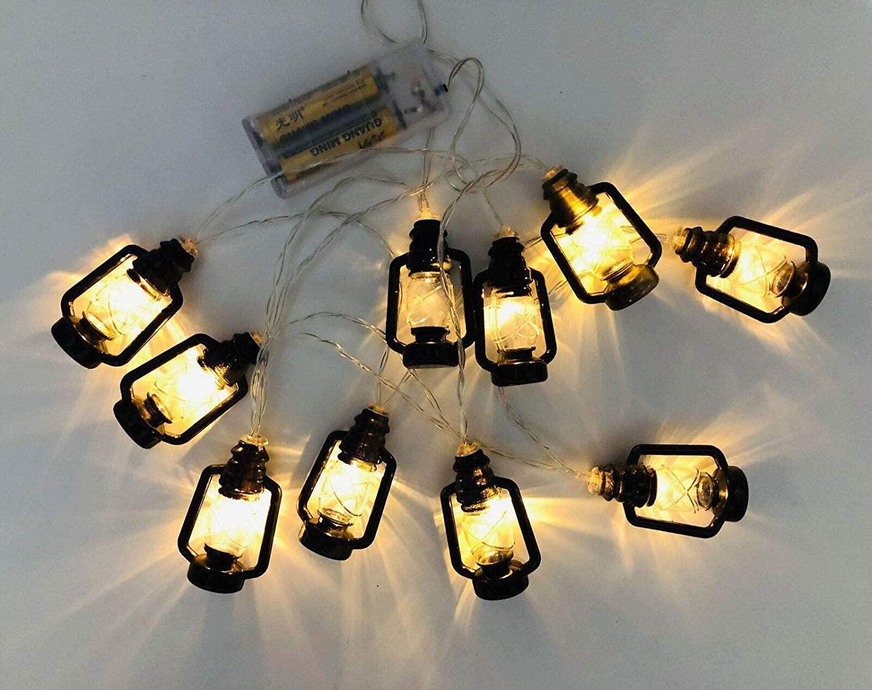 Luiryare 5.4Ft 10 LED String Lights Retro Kerosene Lamp Led Fairy Lights, Battery Operated, Outdoor Indoor Decorative Lights for Ramadan Eid, Halloween, Festival Parties (5.4Ft, Black)