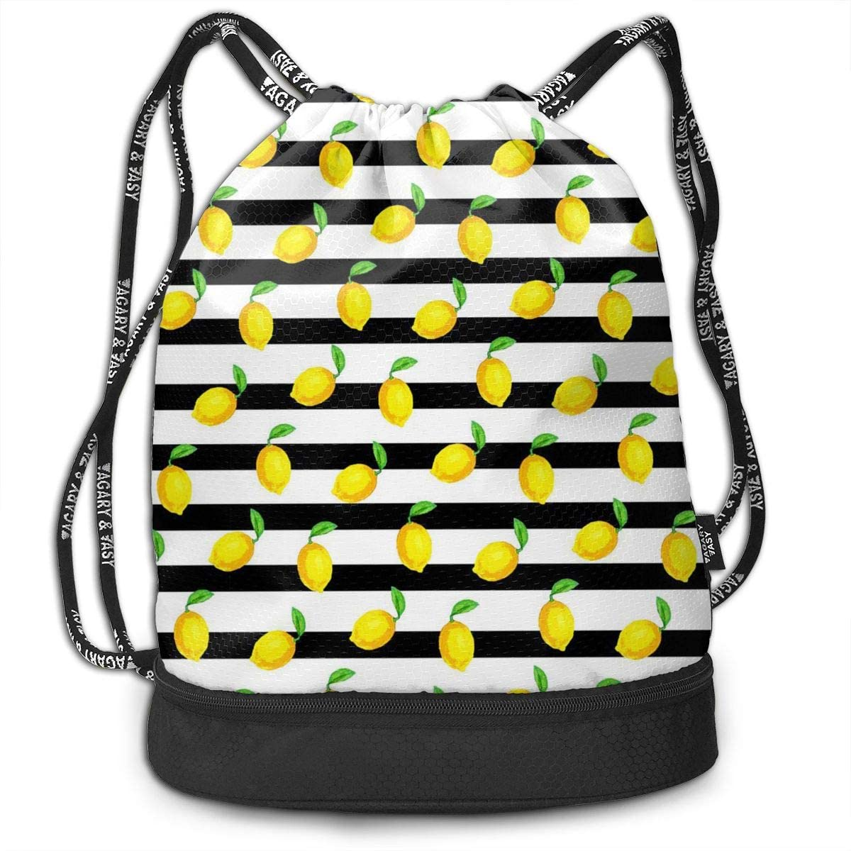 Bundle Backpacks Green Lemon Striped Gym Sack Drawstring Bags Casual Daypack Yoga Bag School Training Pouch