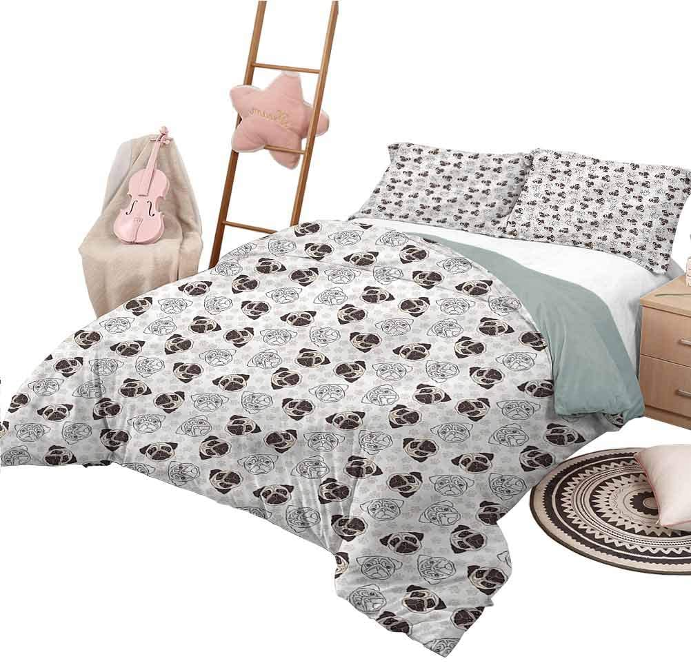 Nomorer Duvet Cover Pattern King Size Dog Soft All-Season Cotton Blend Bedspread Pug Portraits Traces
