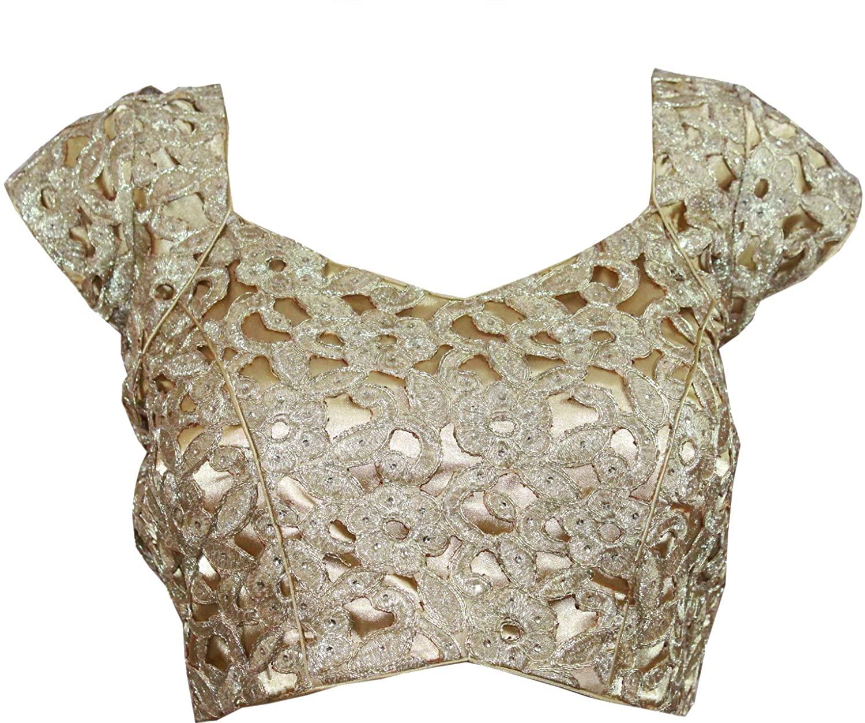 Stitched Blouse Designer Cutwork Wedding Wear Crop- Top Gold