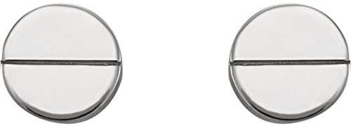 14K White Geometric Earrings with Backs
