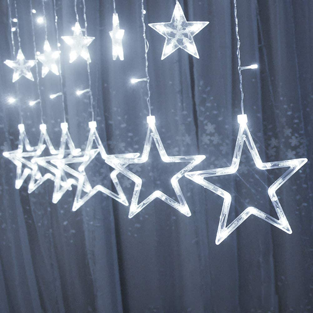 Star String Lights,Stars Window Curtain String Lights with Remote and Timer, Connectable 8 Flashing Modes Decoration Lights for Indoor/Outdoor, Christmas,White