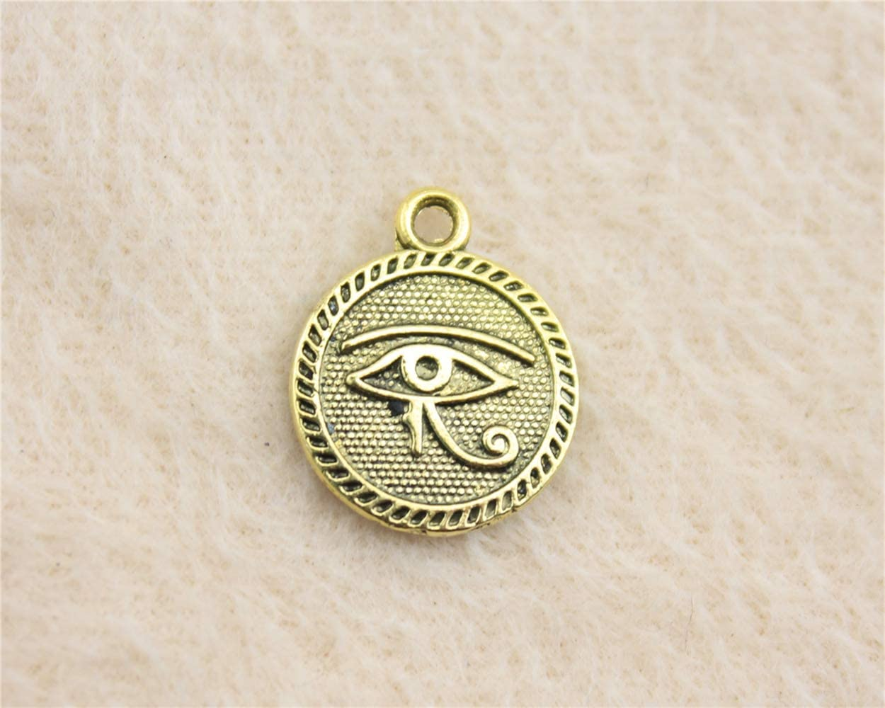 NEWME 30Pcs Double Side Eye of Horus Charms Pendant for DIY Jewelry Wholesale Crafting Bracelet and Necklace Making