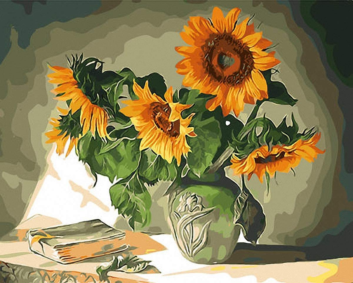 GoldenAppleArt Sunflowers Bunch Green Urn Book Needlepoint Canvas E#415 (14CT Mono Deluxe 14 X 18)