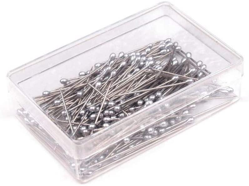 1box Nickel Pearl Head Sewing Pins Length 25mm 12g, Headed Steel, Haberdashery