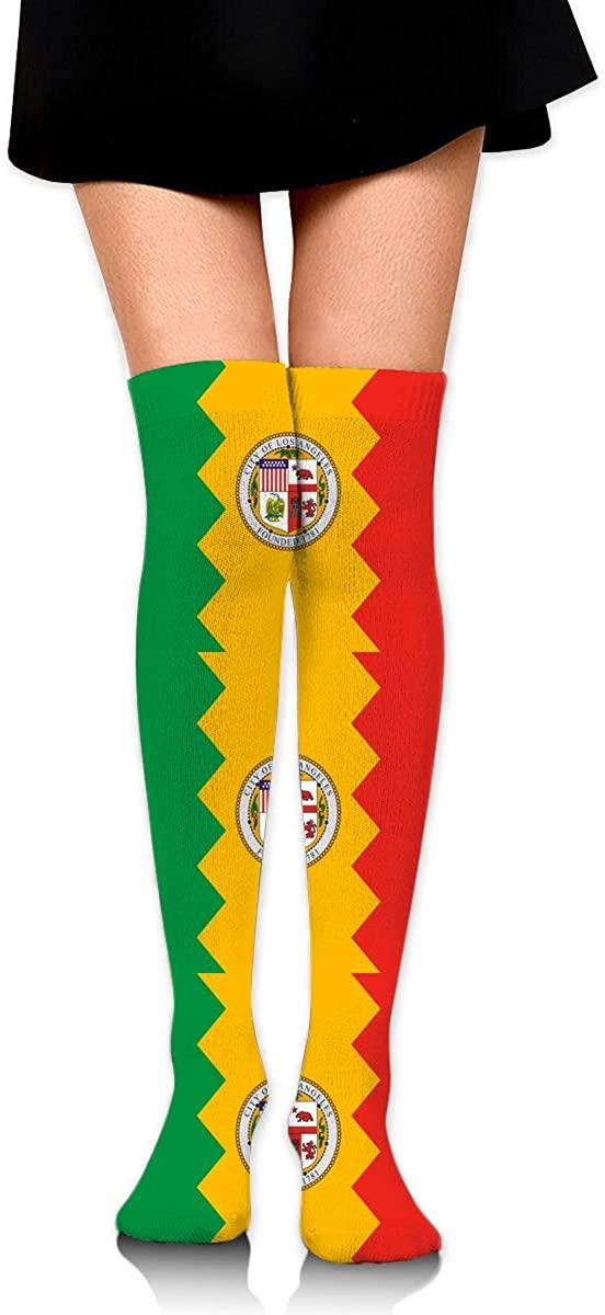 Knee High Socks Los Angeles City Flag California Women's Athletic Over Thigh Long Stockings