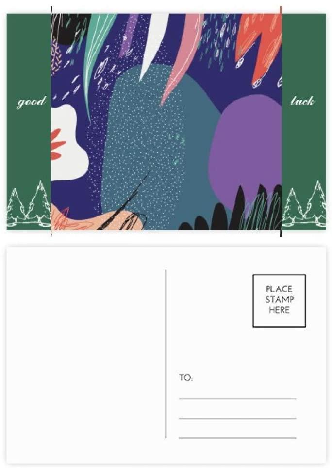 Blue Abstract Plants Art Pattern Good Luck Postcard Set Card Mailing Side 20pcs