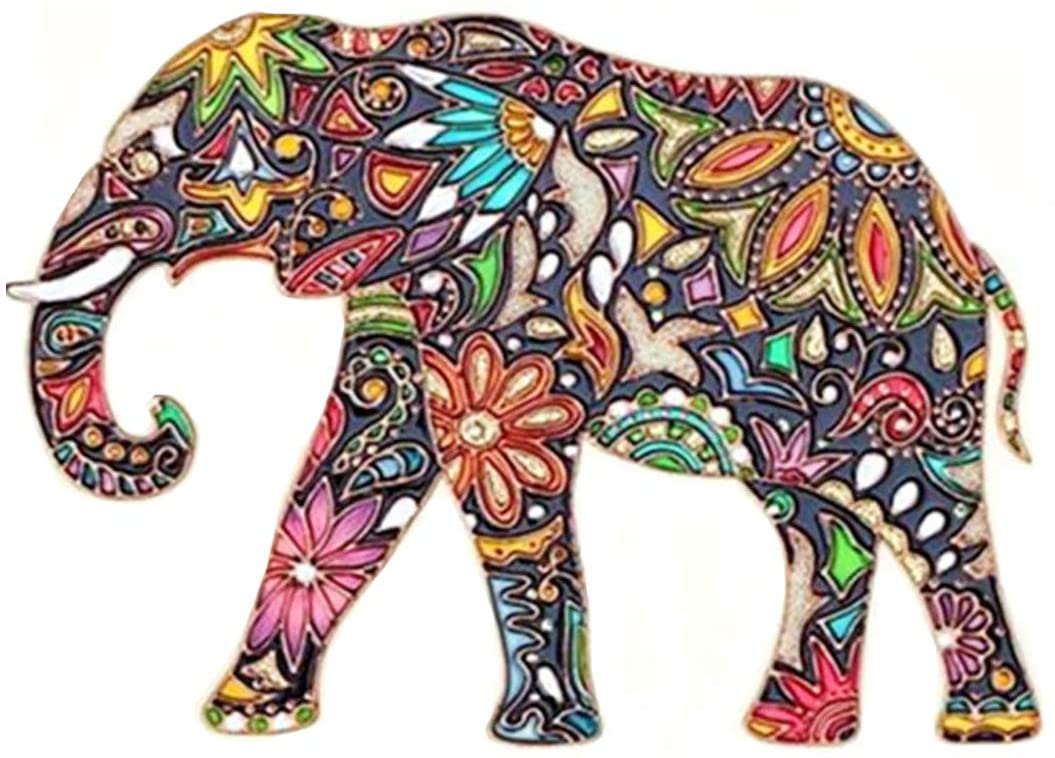 Aitmexcn DIY 5D Diamond Painting Kits Full Drill, ACTIMEX Rhinestone Crystal Embroidery Pictures Cross Stitch for Home Wall Decoration Animal Unique Elephant 35x30 cm (13.7x11.8 inch)