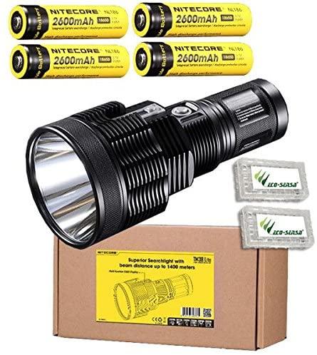 Nitecore TM38 Lite CREE XHP35 HI D4 LED Flashlight/Searchlight -1800 Lumens w/4x NL186 Batteries +2x FREE Eco-Sensa Battery Cases