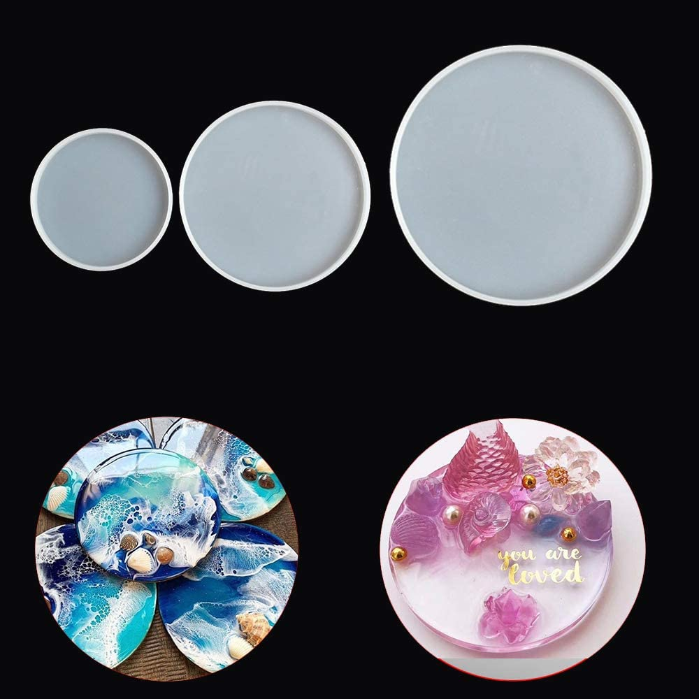 Transparent Jewelry Pendant Mold Fluid Arts Round Coaster Resin Casting Molds Silicone Epoxy Mould Tool DIY Accessories