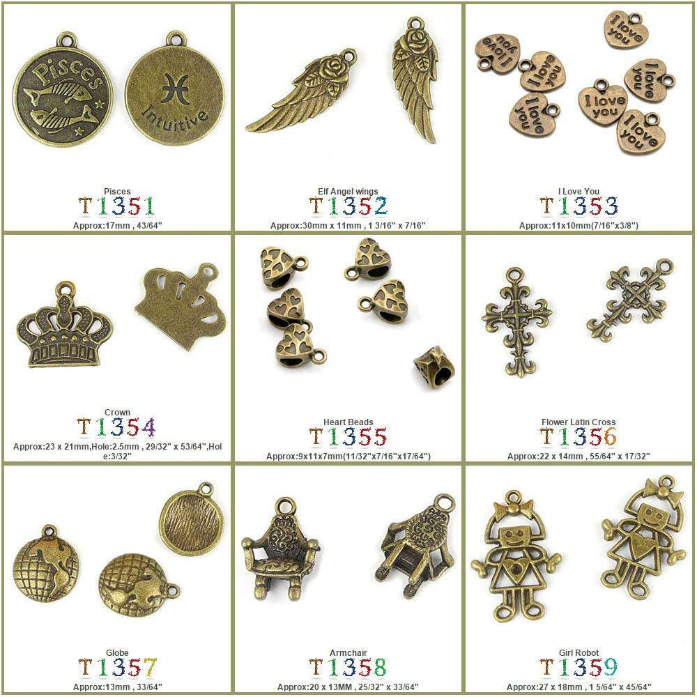 80 PCS Jewelry Making Charms Findings T1355 Heart Beads Jewellery Bronze Charme Supply Supplies Crafting Bracelet Wholesale Craft Alloys Lots Bulk Necklace Antique Retro DIY