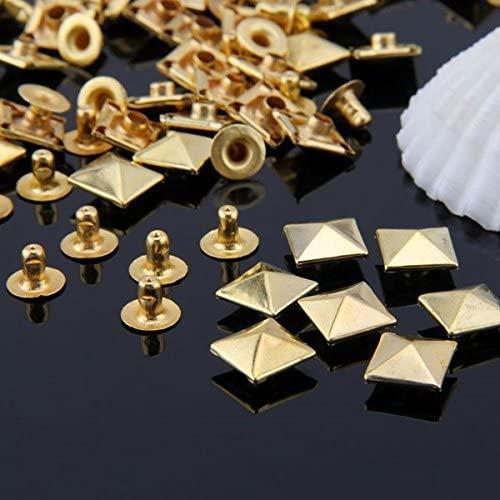 Vikeva 50 Set Gold Square Pyramid Spike Rivet Studs Spots Rock Punk 10mm