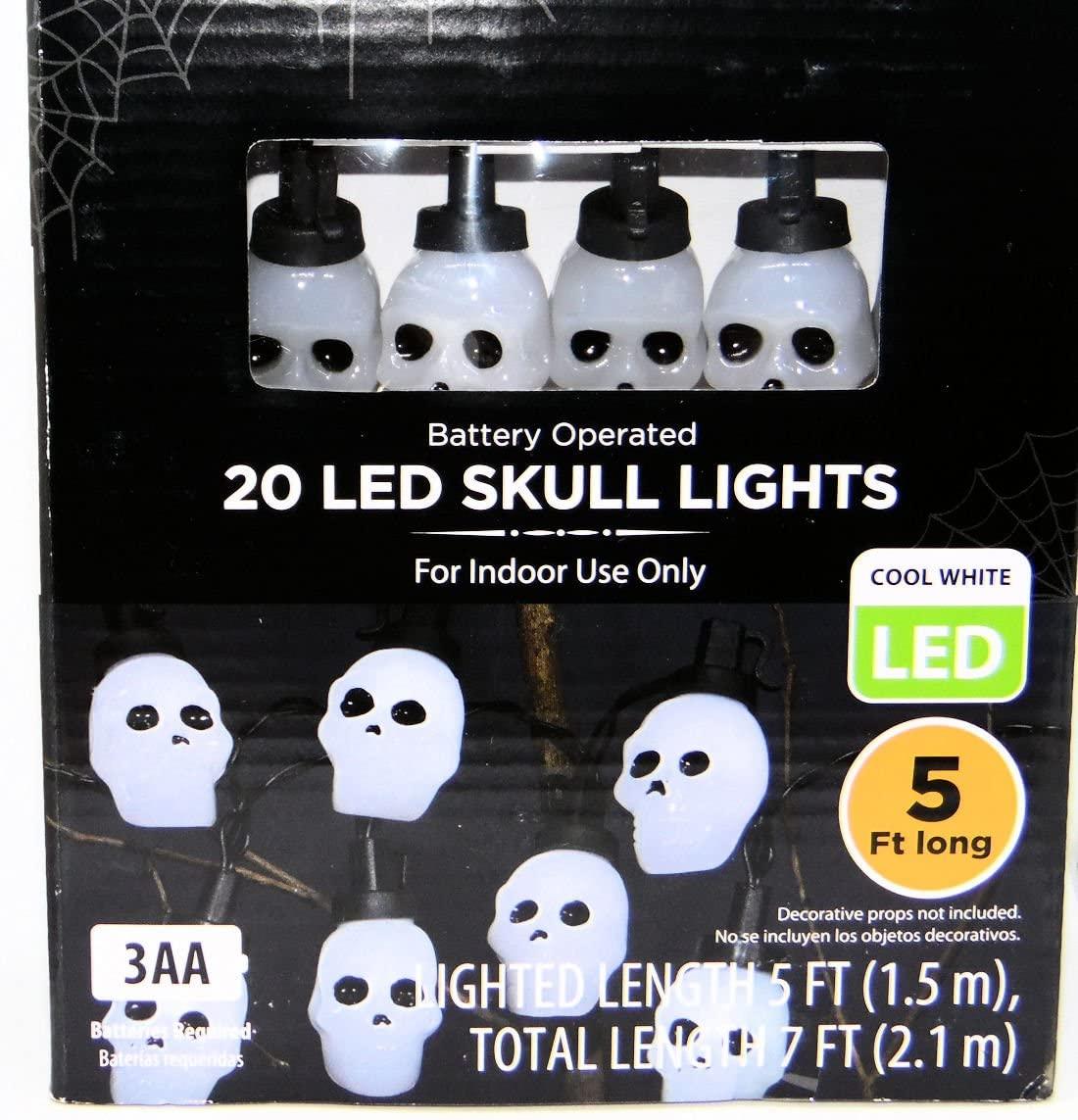 WM Halloween LED Skeleton Skulls Light Set, 20 Cool White LED Lights, Battery Operated - Batteries Not Included