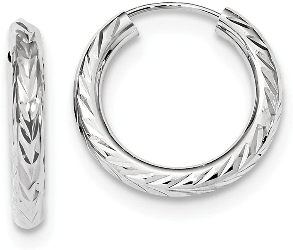 14k White Gold and Diamond-Cut Endless Hoop Earrings 19mm