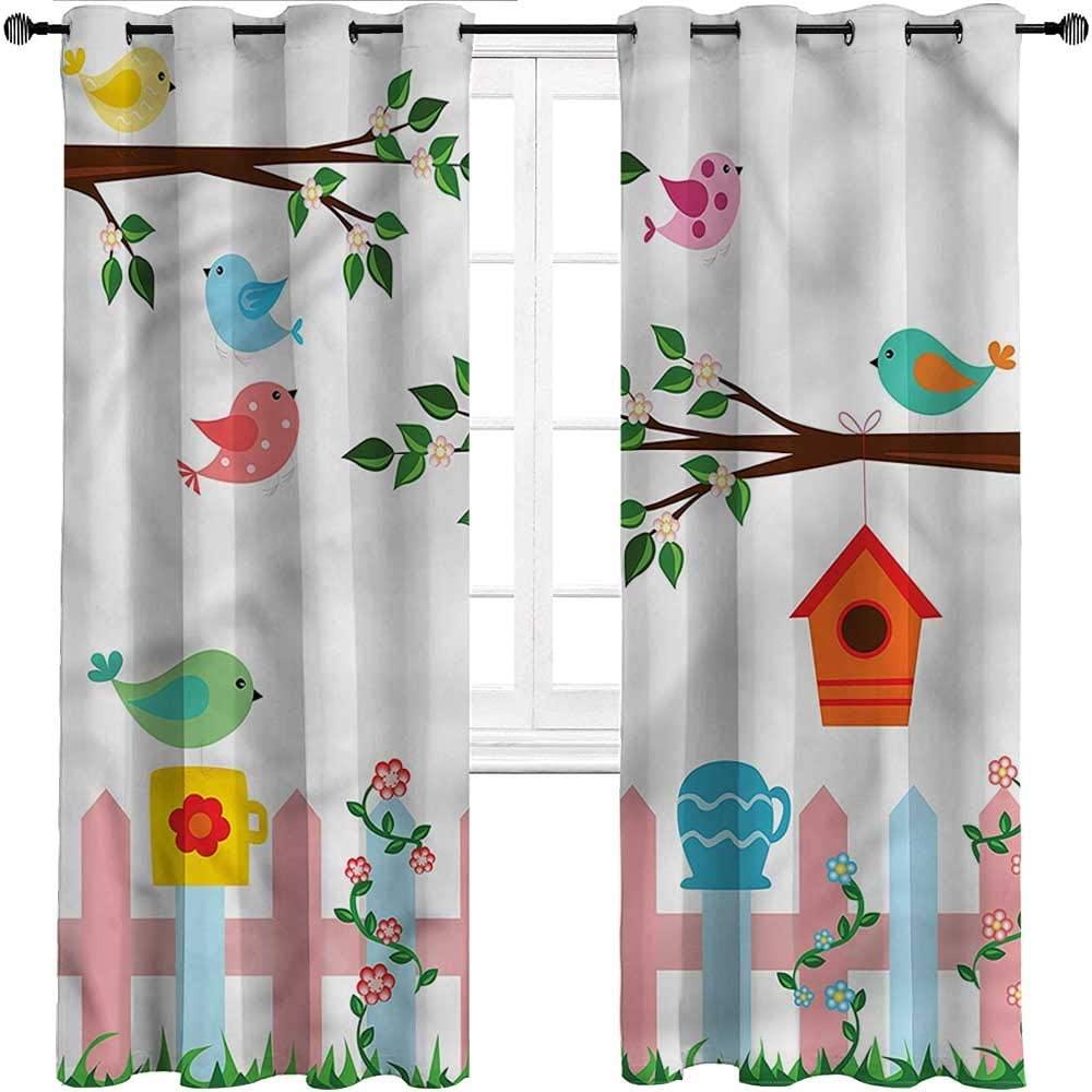 Farmhouse Curtains Birds Indoor/Outdoor UV Protectant Grommet Drapes Hanging Birdhouse Gardening,Set of 2 Panels, 108 Width x 72 Length