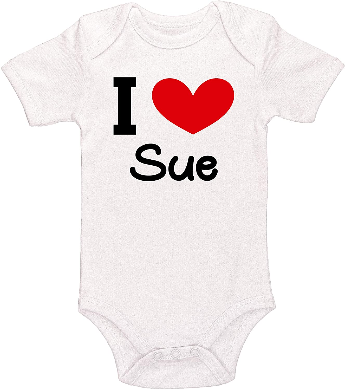 Kinacle I Love Sue Personalized Baby Bodysuit