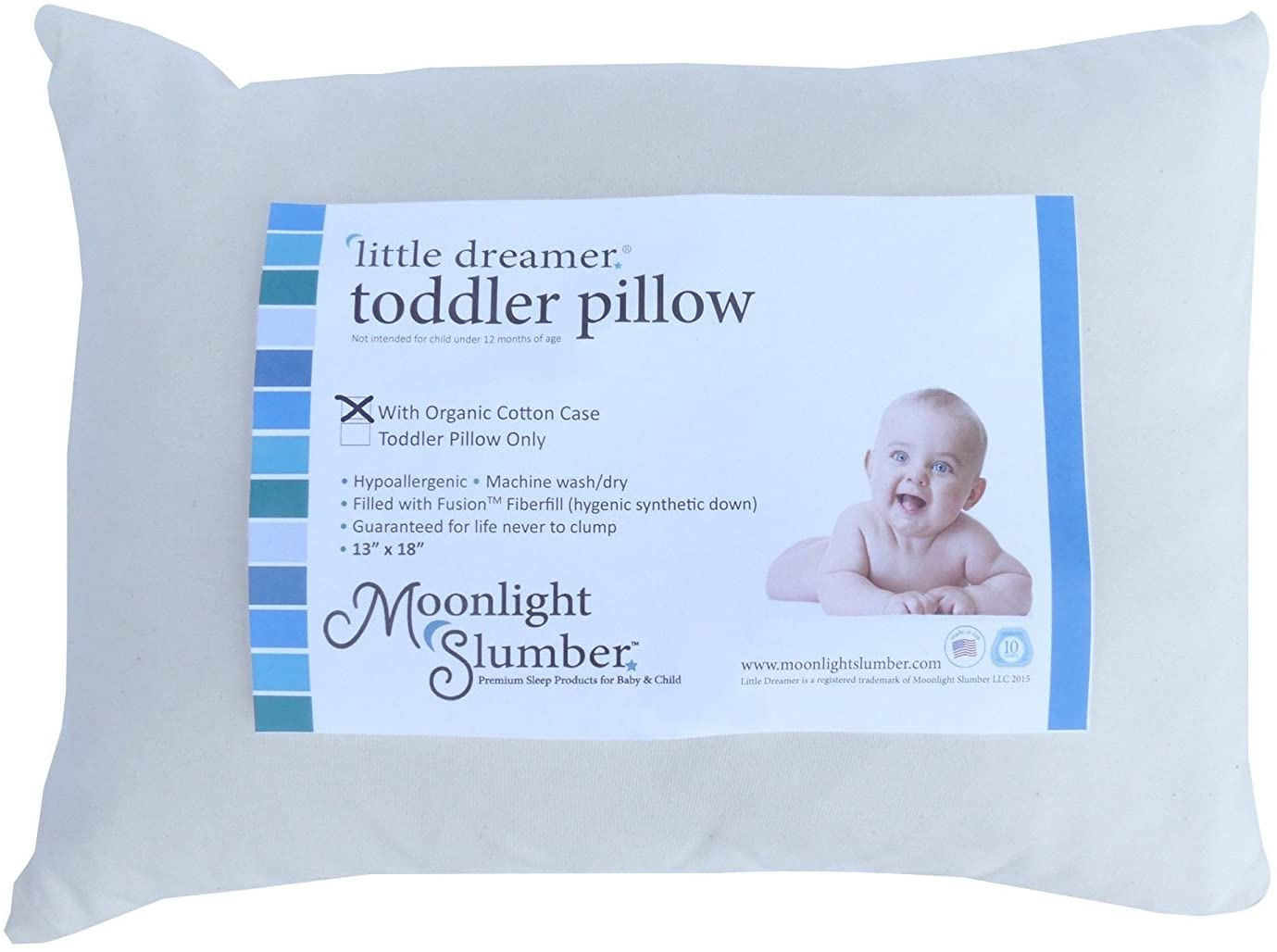 """Moonlight Little Dreamer Toddler Pillow with Organic Cotton Pillowcase. 100% Hypoallergenic and Toxin Free. Hassle-Free Care. (13"""" x 18"""" x 4"""")"""