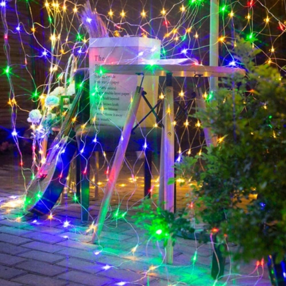 Led Net String Light Waterproof Window Curtain Fairy Garland Lamp Tree Wrap Light for Christmas Outdoor Wedding Garden Home Deco Lighting Strings, Starry Outdoor Lights Network (1.5x1.5m,Colorful)
