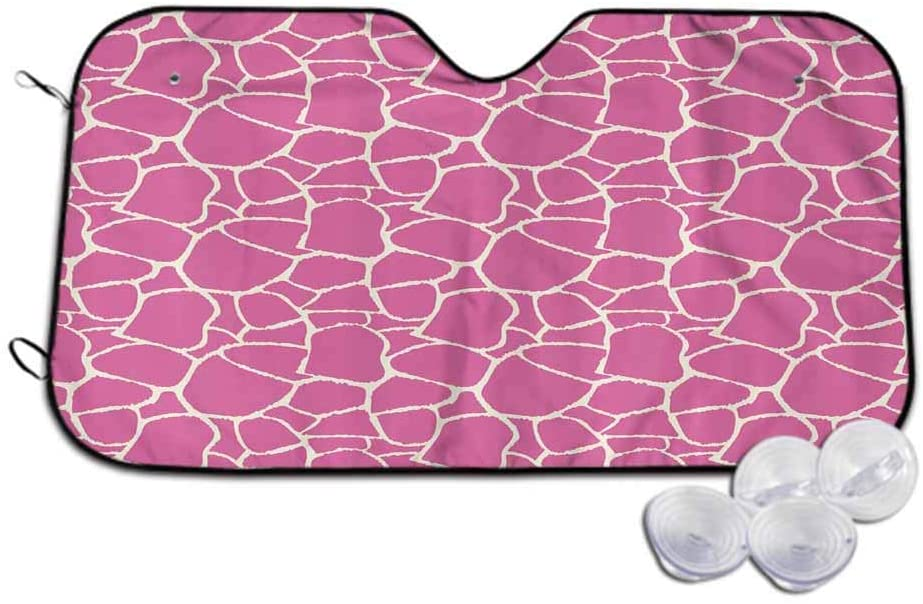 TableCoversHome Car Front Window Sunshade,Abstract Giraffe Skin Sunshade to Keep Your Vehicle Cool and Damage Free,W30 x L55 inch