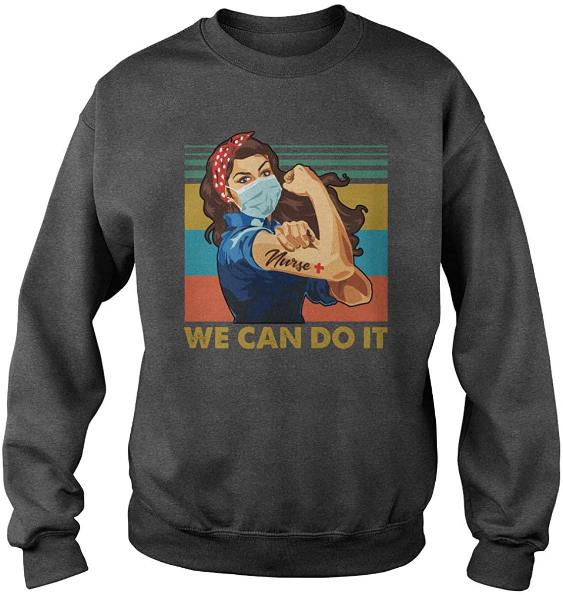 TeeWarrior Unisex Nurse We Can Do It Sweatshirt (Dark Heather, 3XL)